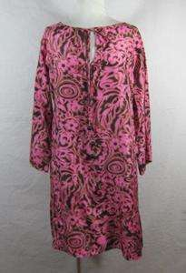 MILLY PINK BROWN SILK FLORAL PRINT 3/4 SLEEVE TUNIC STYLE DRESS L