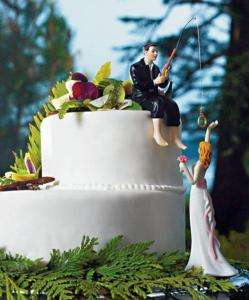 Hooked on Love Fishing Couple Wedding Cake Topper Top