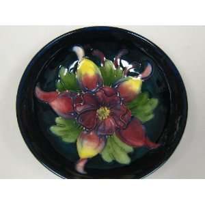 Dark Blue Moorcroft Bowl with Beautiful Floral Decor