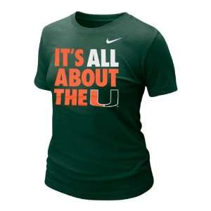 Miami Hurricanes Womens Green Nike Local T Shirt Sports