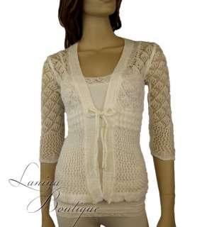 Ladies White Crochet Long Sleeve Knit Cardigan 6 8 10
