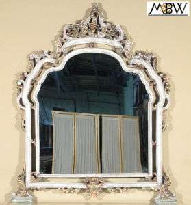 Antique White Finish Hand Carved Wall Table Hanging Mirror e1008b
