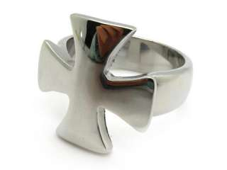 Mens gothic biker plain band party ring cross silver stainless steel