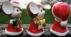 Vintage CHRISTMAS MICE Ceramic Figurine Set of THREE Made in JAPAN