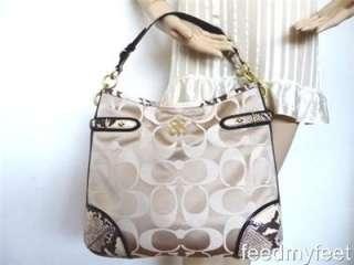 Colette Khaki Gold Sateen Python Shoulder Tote Handbag Purse