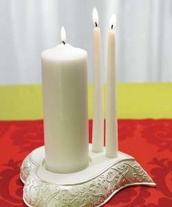 Stylized Heart White Wedding Unity Candle Holder Stand