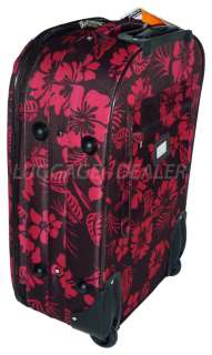 20 Carry On Wheel Rolling Luggage BROWN FUCHSIA Hibiscus Hard Back