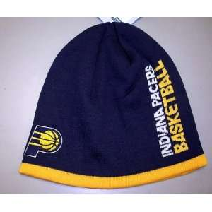 INDIANA PACERS NBA CUFFLESS TEAM KNIT BEANIE HAT/CAP BY