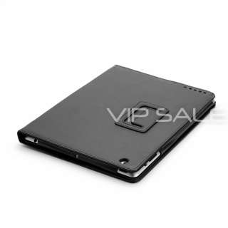 APPLE IPAD 3 BLACK LEATHER CASE COVER WITH POCKETS + STYLUS + SCREEN