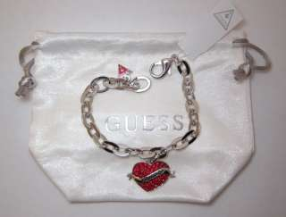 GUESS Exclusive V Day Heart Red Crystal Bracelet Rhinestones Silver