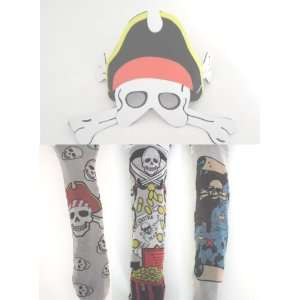 Mask & Tattoo Party Pack   12 Sets of Tattoo Sleeves & 12 Foam Pirate