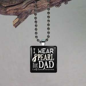 Lung Cancer Pearl Awareness Ribbon for Dad Glass Tile Necklace Pendant