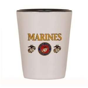 Shot Glass White and Black of Marines United States Marine
