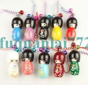 10pcs Japanese Oriental Kokeshi Doll Handbag Charm #880