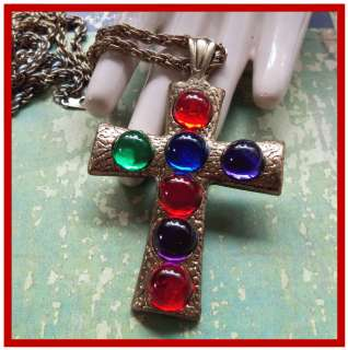 Vintage Jewel Tone Cabochon Gold Cross Pendant Necklace