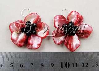 Jade&onyx&shell flower necklace/earring set VJ