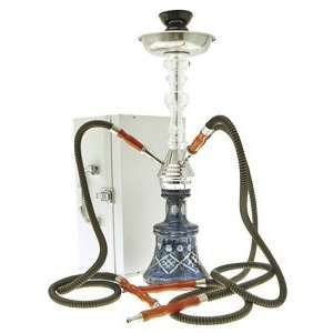 24 3 Hose Black Clear Crystal Maju Hookah with case