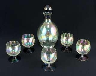 BOHEMIAN LOETZ IRIDESCENT GLASS LIQUOR DECANTER BOTTLE STOPPER GLASSES