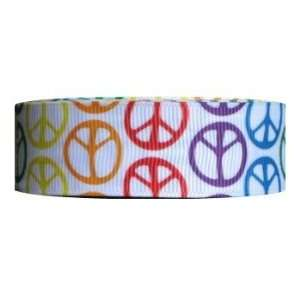 10 Yds Grosgrain Ribbon Bright Peace Sign   7/8 Inch Arts