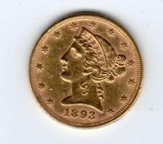 1893 $5 Liberty Head Gold Half Eagle AU L292 Bullion