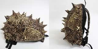 Brown Leopard Spike Punk School Backpack / Mans & Womens Spiky College