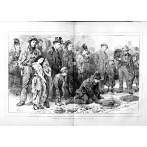 1874 LONDON STREET SCENE PAVEMENT ARTIST PEOPLE PRINT