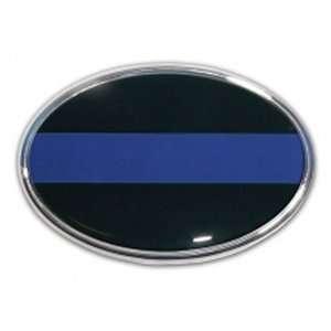 Police Oval Black with Blue Line Chrome Auto Emblem Automotive