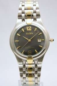 New Elgin Men Two Tone Stainless Steel Dress Date Watch 38mm FG068