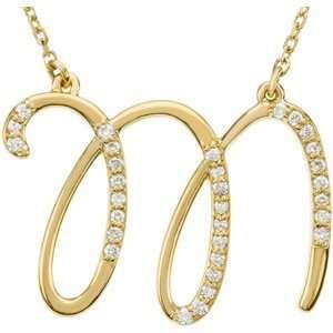 14K Yellow Gold Alphabet Initial Letter M Diamond Pendant Necklace, 17