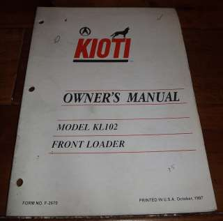 KIOTI Tractor Owners Manual Model KL102 Front Loader