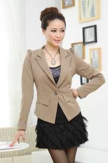 Fashion Korean Women One Button Long Sleeve Shrug Suit Jacket Coat L