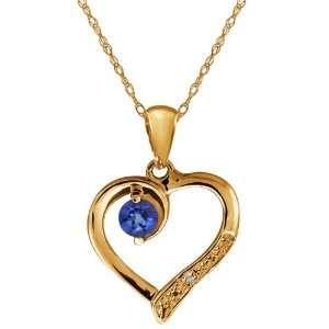 Blue Sapphire and White Diamond 14k Yellow Gold Heart Shape Pendant