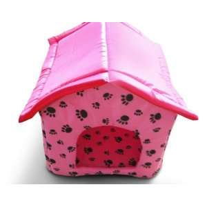 Pet Dog Cat Bed House w/ Paw Print Large   Pink Kitchen