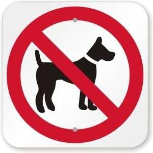 No Dog Symbol Aluminum Sign, 12 x 12