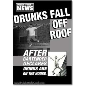 Fall Off Roof Humor Greeting Weekly World News
