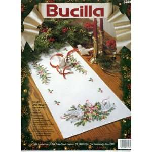 Doves and Holly Stamped Embroidery Table Runner Kit Arts