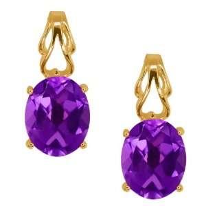 3.00 Ct Oval Purple Amethyst 14k Yellow Gold Earrings Jewelry