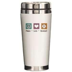 Peace Love Baseball Sports Ceramic Travel Mug by