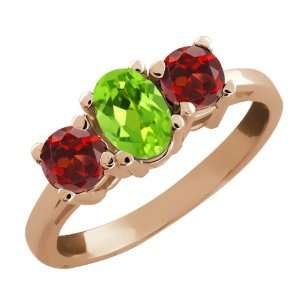 1.24 Ct Oval Green Peridot and Red Garnet 18k Rose Gold