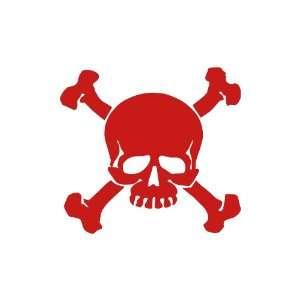 Skull and Crossbones RED vinyl window decal sticker