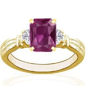 18K Yellow Gold Emerald Cut Pink Sapphire Three Stone Ring
