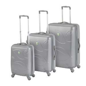 Eco Leaves 3 Piece Luggage Set   Silver
