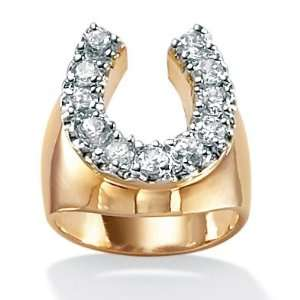 14k Gold Plated DiamonUltra™ Cubic Zirconia Horseshoe Ring Jewelry
