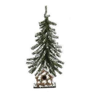18 Snow Covered Forest Christmas Tree w/ Bird House