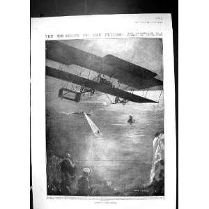 Contraband Smuggler Flying Machine Antique Print