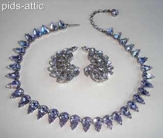 Vintage Lavender Periwinkle Crystal Rhinestone Necklace & B David