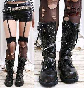 Visual Kei/Gothic/CYBER 5 strap BOOT 6/6.5 ASH BLACK 35