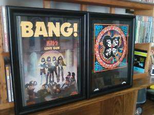 FRAMED RARE & ORIGINAL KISS LOVE GUN & ROCK & ROLL OVER LP CD
