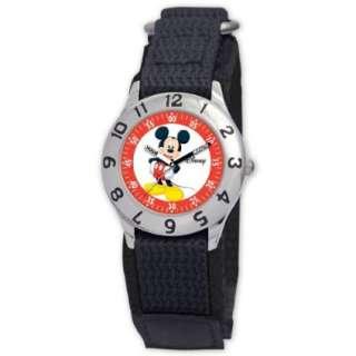 Disney Kids D800S500 Mickey Mouse Time Teacher Black Velcro Strap