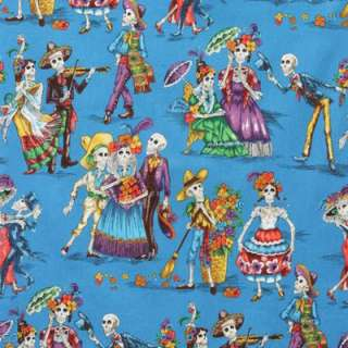 Alexander Henry Day of the Dead Paseo De Los Muertos Turquoise Fat